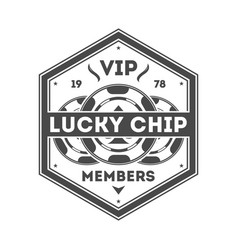 lucky chip vintage isolated label vector image