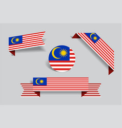 Malaysian flag stickers and labels vector