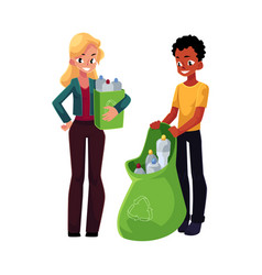 man woman collect plastic bottles in garbage bag vector image