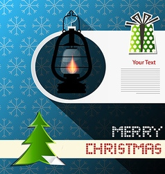 Merry christmas card with xmas tree gas lamp and vector