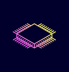 Microchip isometric icon central processing unit vector