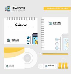 Money through smartphone logo calendar template vector