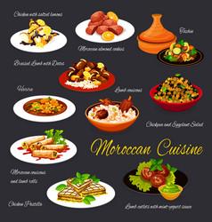 Moroccan cuisine menu dishes morocco meals vector