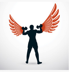 muscular bodybuilder holding dumbbell champion vector image