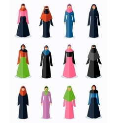 Muslim woman flat icons vector image