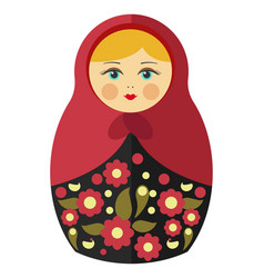 Nesting doll with blond hair in maroon kerchief vector