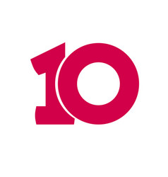 Number 10 symbol simple ten text isolated vector