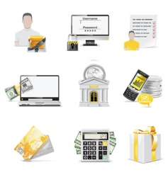Online banking icon set vector