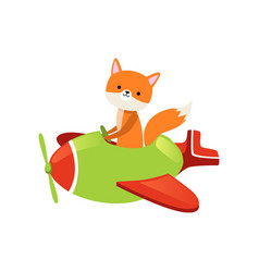 Orange fox flying on little green airplane vector