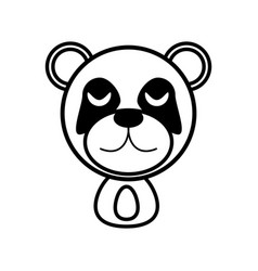 Outline panda head animal vector