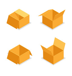 paper cardboard package boxes isometric open empty vector image
