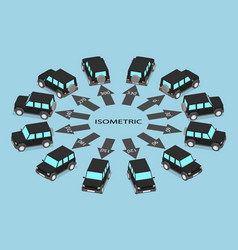 Parked black cars in different angles vector