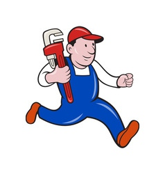 Plumber with monkey wrench cartoon vector