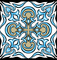 Portuguese azulejo ceramic tile vector
