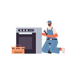 professional repairman in uniform repairing or vector image