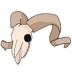 Ram skull cartoon motif set vector