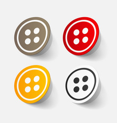 Realistic paper sticker sewing button vector