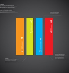 Rectangle template consists of four color parts on vector image