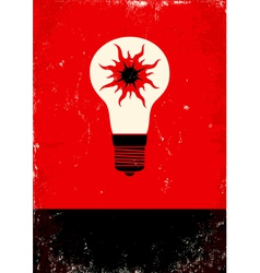 Red and black poster with bulb vector image