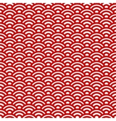 Red and white waves japanese pattern vector