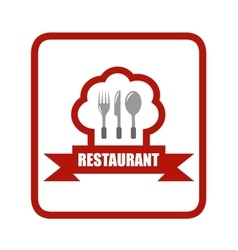 Red restaurant icon vector