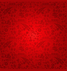 Red russia background with russian icons vector