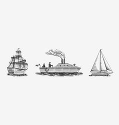 sailboat in sea summer adventure active vector image