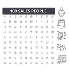 Sales people line icons signs set vector