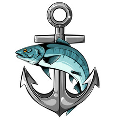 salmon logo with anchor design vector image