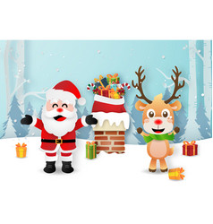 santa claus and reindeer on rooftops vector image