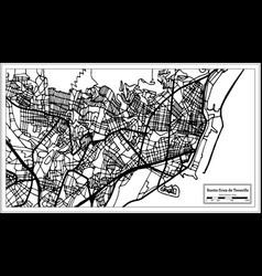 santa cruz de tenerife spain city map in retro vector image