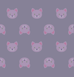 seamless pattern - cartoon white pink kittens on vector image