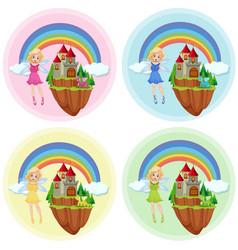 set fairy at castle vector image