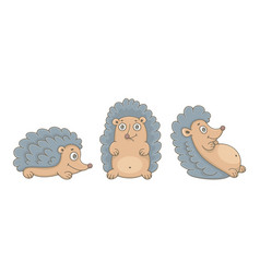 set hedgehogs vector image