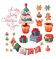 Set of cute christmas tree toys vector