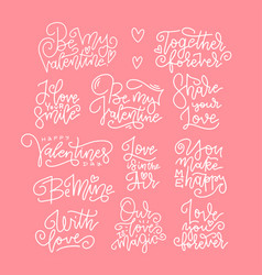 set phrases for design greeting cards vector image