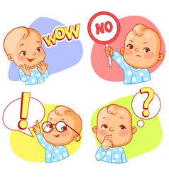set with baby sticker different emotions vector image