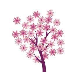 Simple naive pink color sakura tree blossom vector