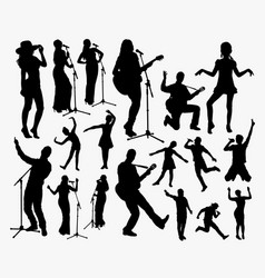 singer and entertainer silhouette vector image