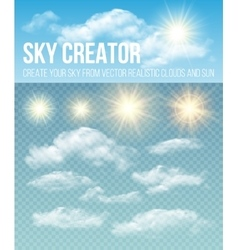 Sky creator set realistic clouds and sun vector
