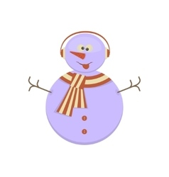 Snowman with funny face vector