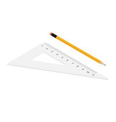 stationery tools red triangle yellow lead pencil vector image