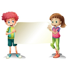 Two kids holding an empty signage vector