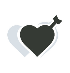 Valentines two heart arrow vector