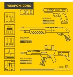 weapon icons vector image
