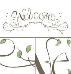 Welcome Floral Vines Lettering vector image