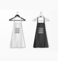 White and black cotton kitchen apron set vector