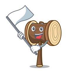 With flag mallet mascot cartoon style vector
