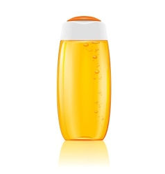 Yellow shampoo bottle with bubbles vector