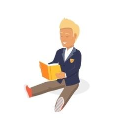Young Black Haired Man Enjoying Reading Big Book vector image